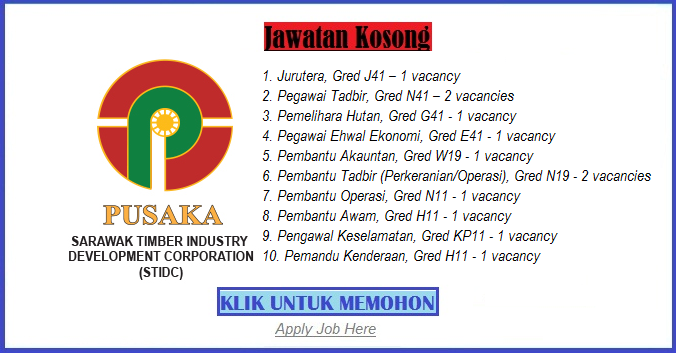 Jawatan Kosong Sarawak Timber Industry Development Corporation (STIDC) Terbaru apply job here