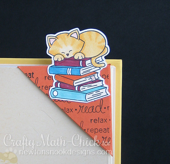 Corner Bookmark with Cat and Books by Crafty Math-Chick | Newton's Book Club Stamp set by Newton's Nook Designs #newtonsnook