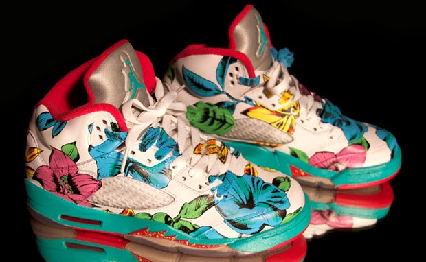 """Say aloha to the Air Jordan 5 """"Floral"""" Custom. Painted previously in  camouflage 1d10dcfe125"""