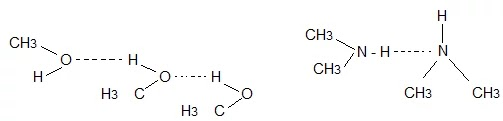 methanol and dimethylamine is shown by dotted lines