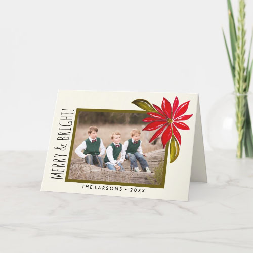 Classic Hand Painted Poinsettia and Family Photo Folded Christmas Card