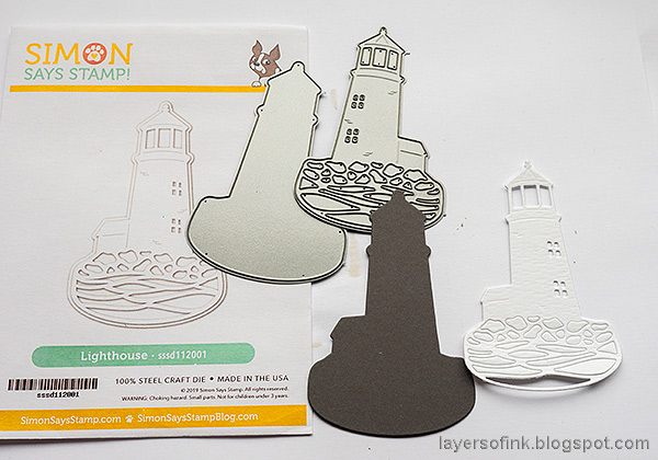Layers of ink - Lighthouse Tag with crackle paste and mica flakes by Anna-Karin Evaldsson. Paper lighthouse.