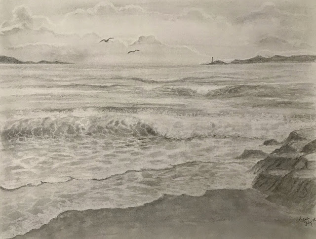 Pencil Drawing- Beach front