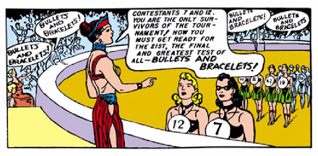 All-Star Comics (1940) #8 Page 66 Panel 4: Since her mother has forbidden her to participate, Diana takes on a disguise to compete for the right to take Steve Trevor home.