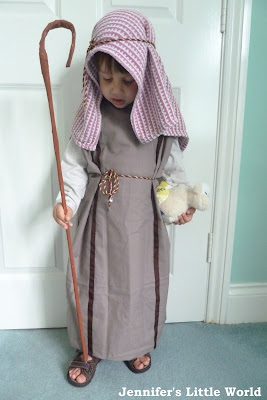 Shepherd's costume from a pillowcase for Nativity play