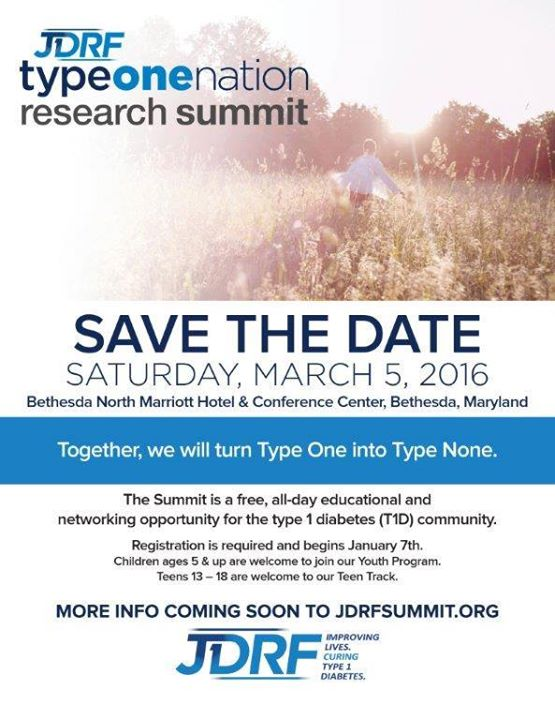 3/5/16: JDRF Greater Chesapeake & Potomac Chapter's 2016 TypeOneNation Summit In Bethesda, MD.