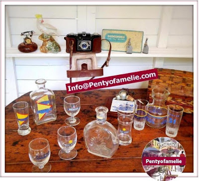 french vintage bistro barware Ricard anisette pastis retro bottles and glasses