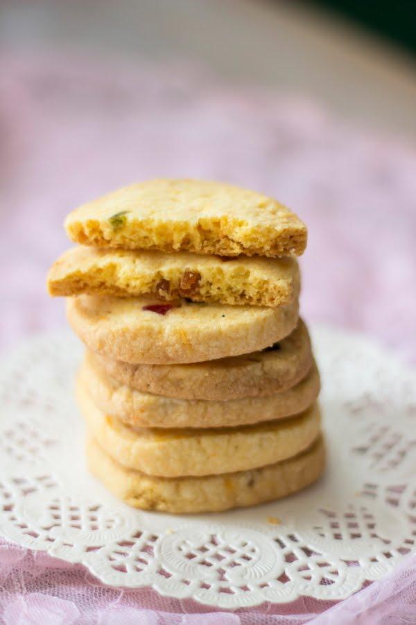 How to make vegetarian eggless Karachi Bakery Fruit Biscuit rose cookies cranberry cookie recipe at One Teaspoon Of Life www.oneteaspoonoflife.com
