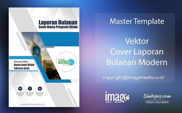 Download Template Desain Cover Laporan Bulanan Modern