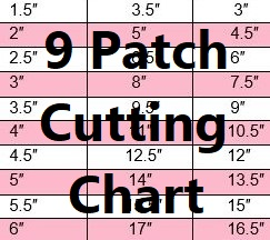 9 PATCH-NINE PATCH BLOCK-QUILT BLOCK-CUTTING CHART
