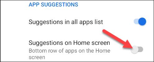 تعطيل الاقتراحات على الشاشة الرئيسية