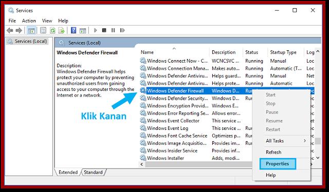Windows Defender Firewall Properties