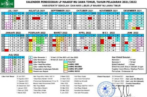 Kalender Pendidikan LP Ma'arif NU TP. 2021-2022