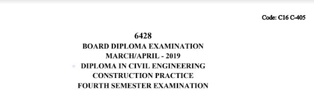 SBTET Construction Practice C16 CIVIL March/April 2019 Question Paper