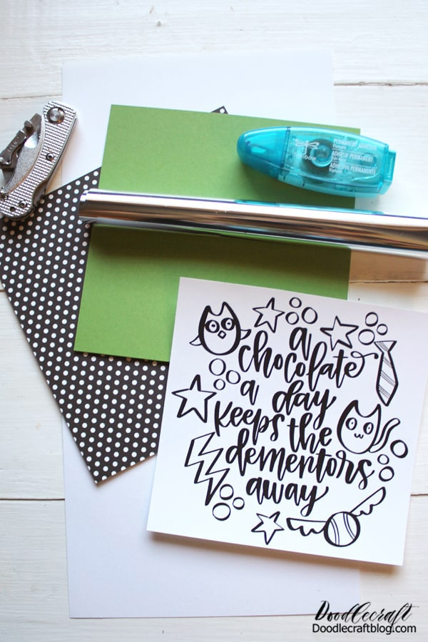 Supplies Needed for Harry Potter Foil Chocolate Card: Heat Foil Laminator Laser Printer Laser Paper (32 pound) Cardstock Paper Cutter Tombow MONO Adhesive Roller Blade for Distressing  ***Dementor Calligraphy Image***
