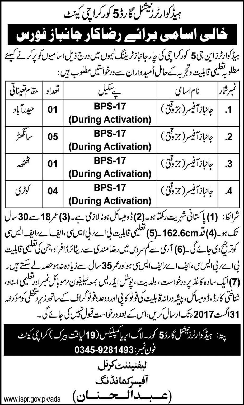 Jobs In Headquarter National Guard 5 Corps Karachi Cantt Aug 2017