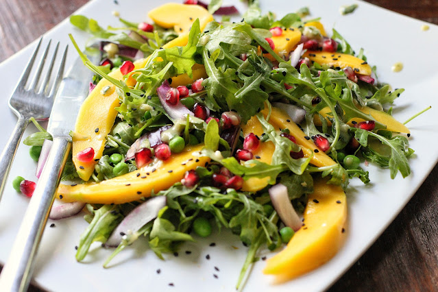 Mango Pomegranate Salad with Lime Tahini Dressing