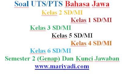 Soal UTS Bahasa Jawa Kelas 4 SD/MI Semester 2 (Genap) Dan Kunci Jawaban