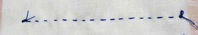 Pespunte a mano con hilo azul sobre tela blanca