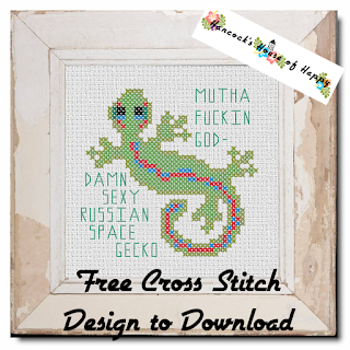 free gecko cross stitch design to download