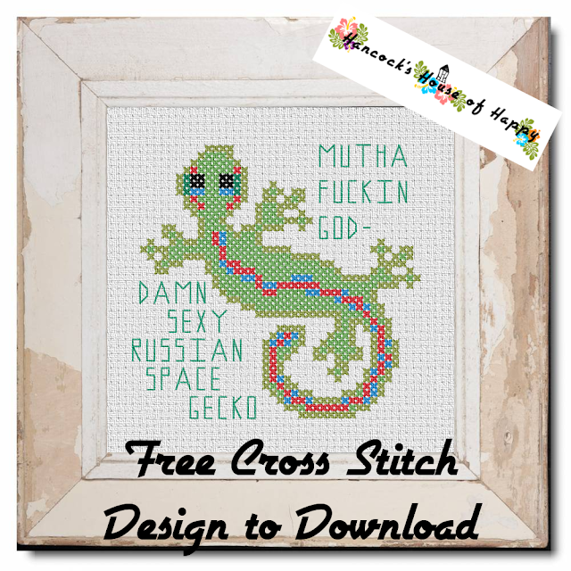 Sexy Russian Space Gecko Free Cross Stitch Pattern to Download