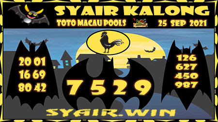 Syair Kalong Toto Macau Sabtu 25 September 2021