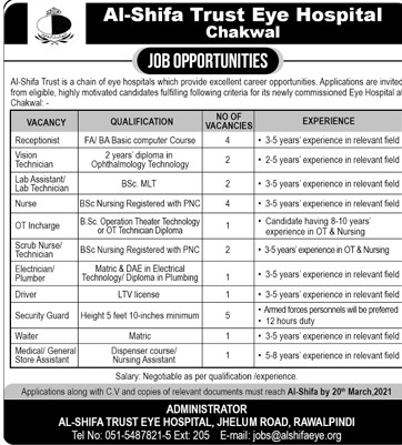 Al-Shifa Trust Eye Hospital Jobs 2021 in Pakistan - Lab Technician Jobs 2021 - Nurse Jobs 2021 - Security Guard Jobs 2021 - Driver Jobs 2021 - Waiter Jobs 2021 - Medical Jobs 2021