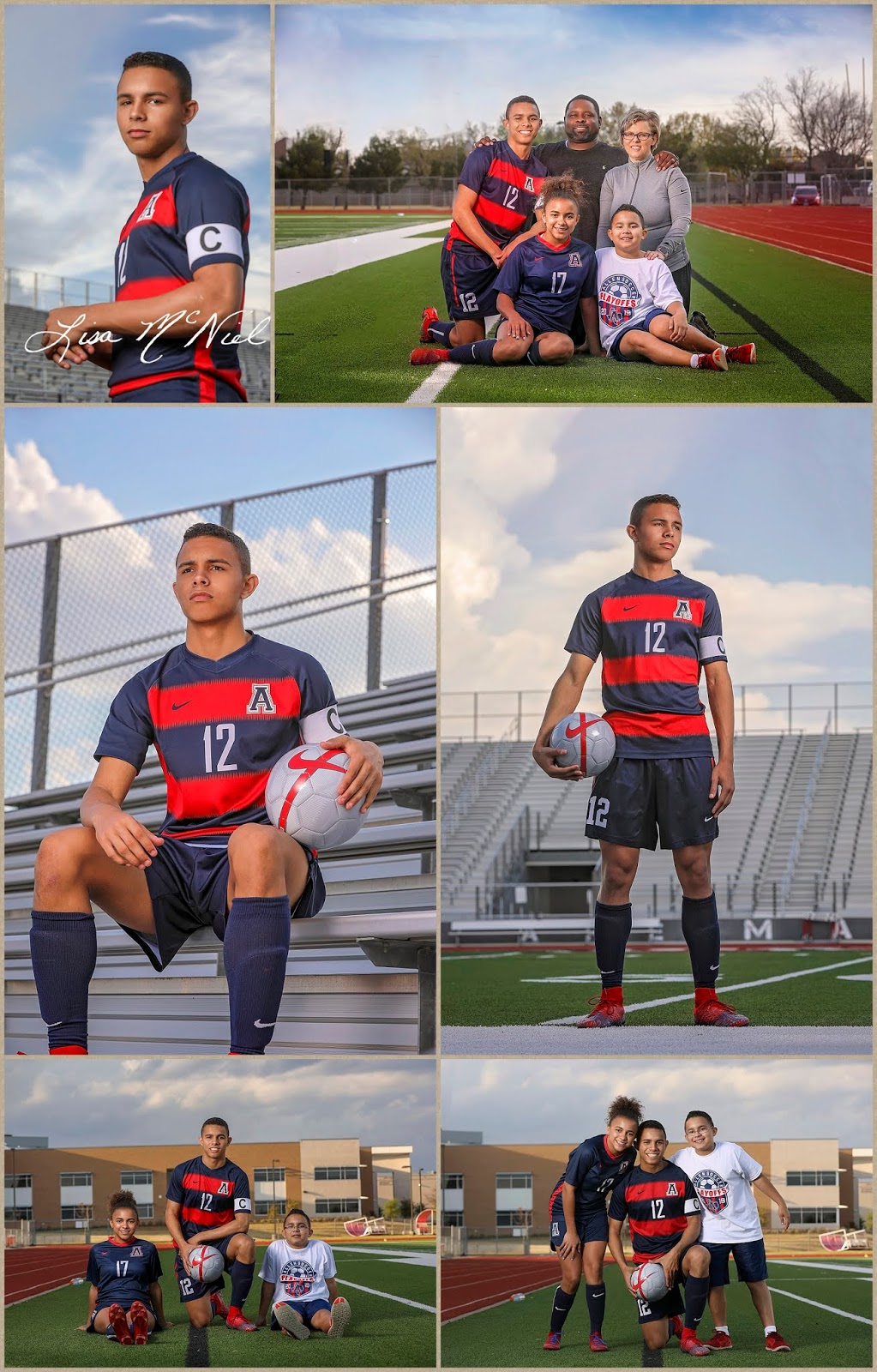 teen boy and family soccer poses
