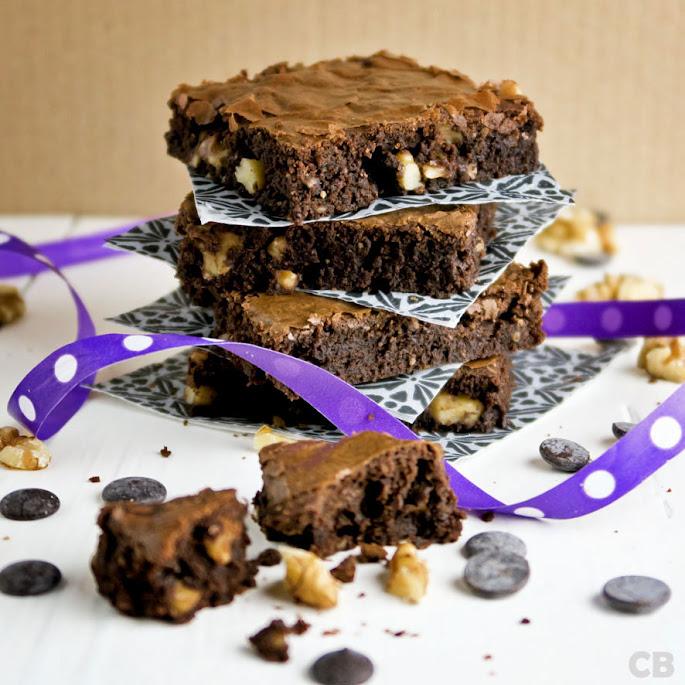 Brownies met pure chocolade en walnoten