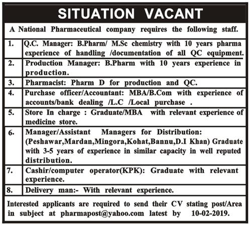 Jobs Vacancies In Pharmaceutical Company 29 January 2019