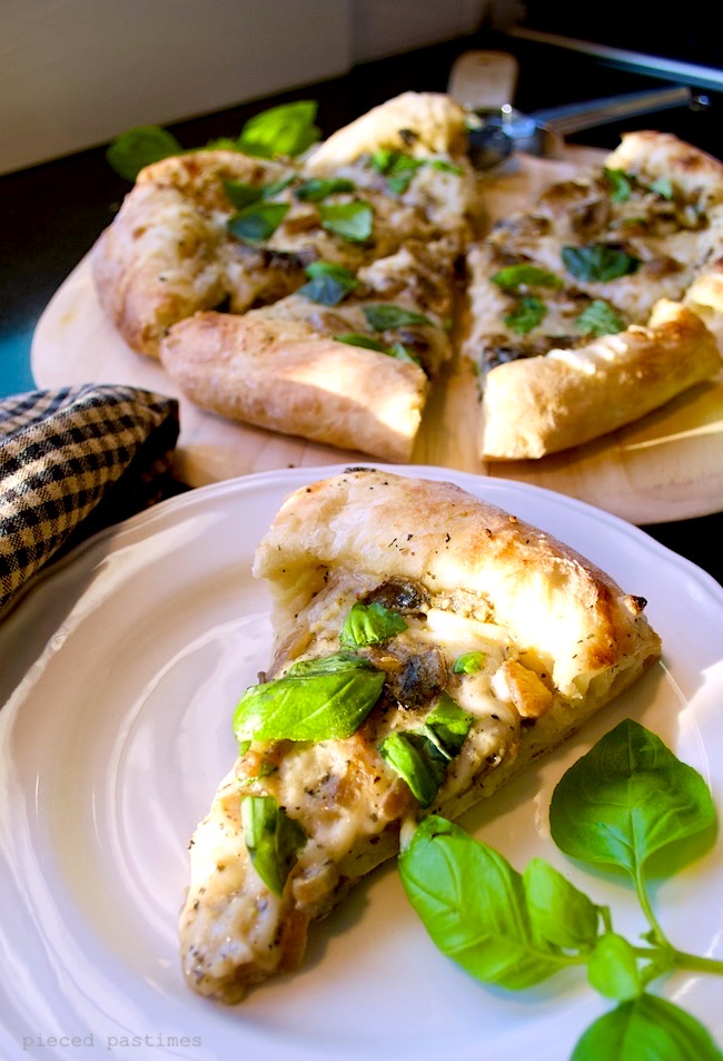Vegan Caramelized Onion Mushroom White Pizza at Pieced Pastimes
