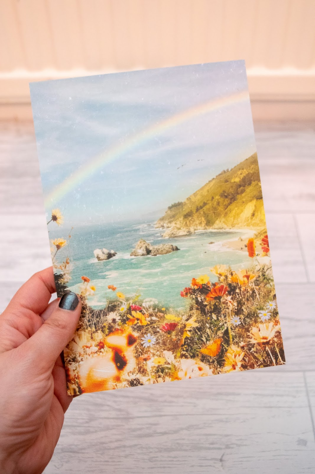 A print of a seascape with a beach, rainbow in the distance and florals towards the front.