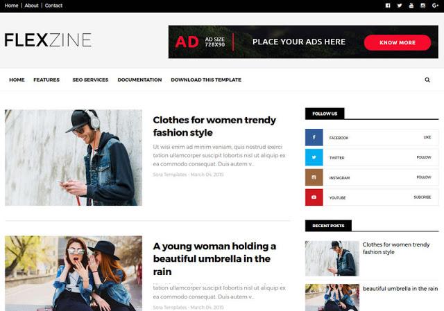 FlexZine mobile friendly blogger template