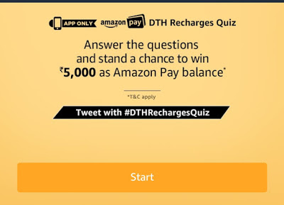 Amazon DTH Recharges Quiz – Answer & win Rs 5000