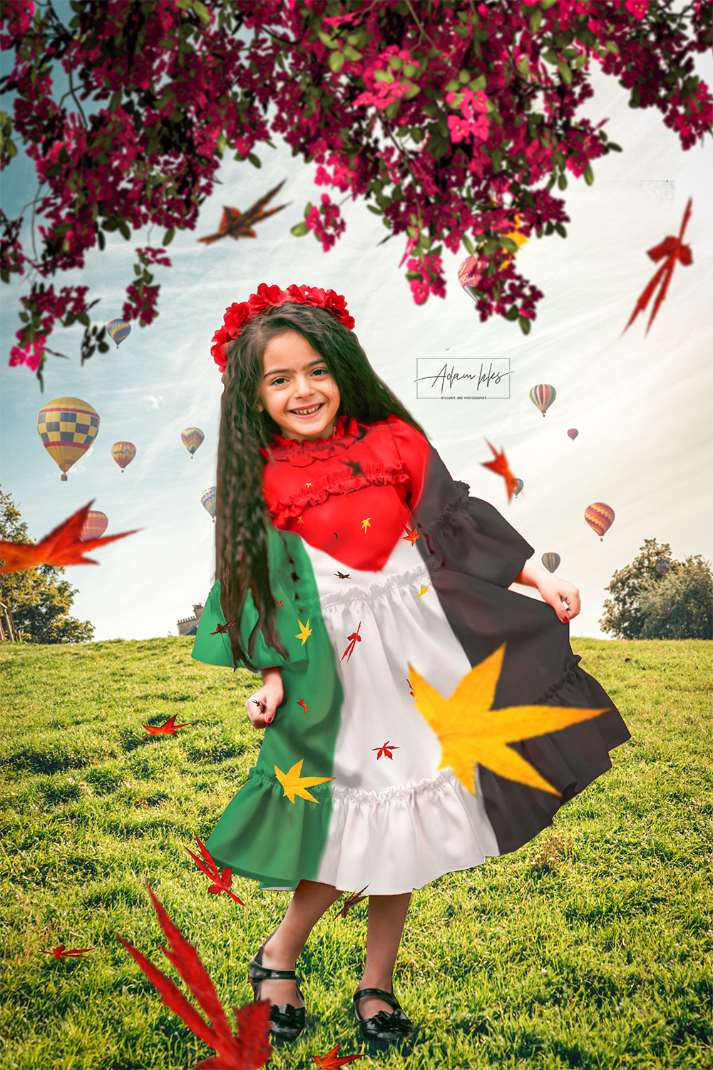 girl with the flag of Palestine