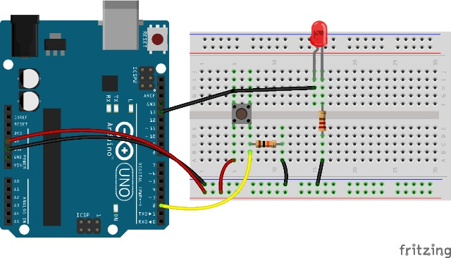 Program arduino digital read push button kelas robot