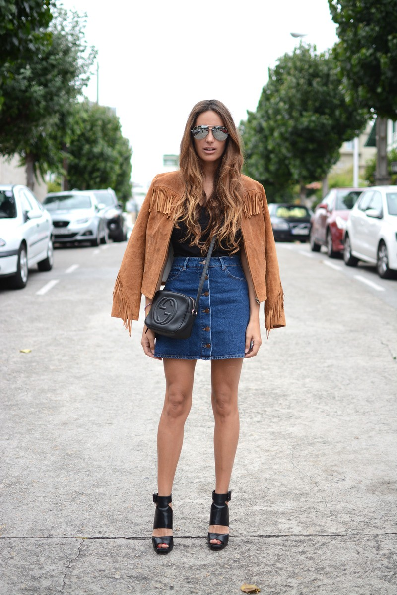 Stella Wants to Die - Fringe Suede Jacket / Gucci Bag / Denim Button Front Skirt