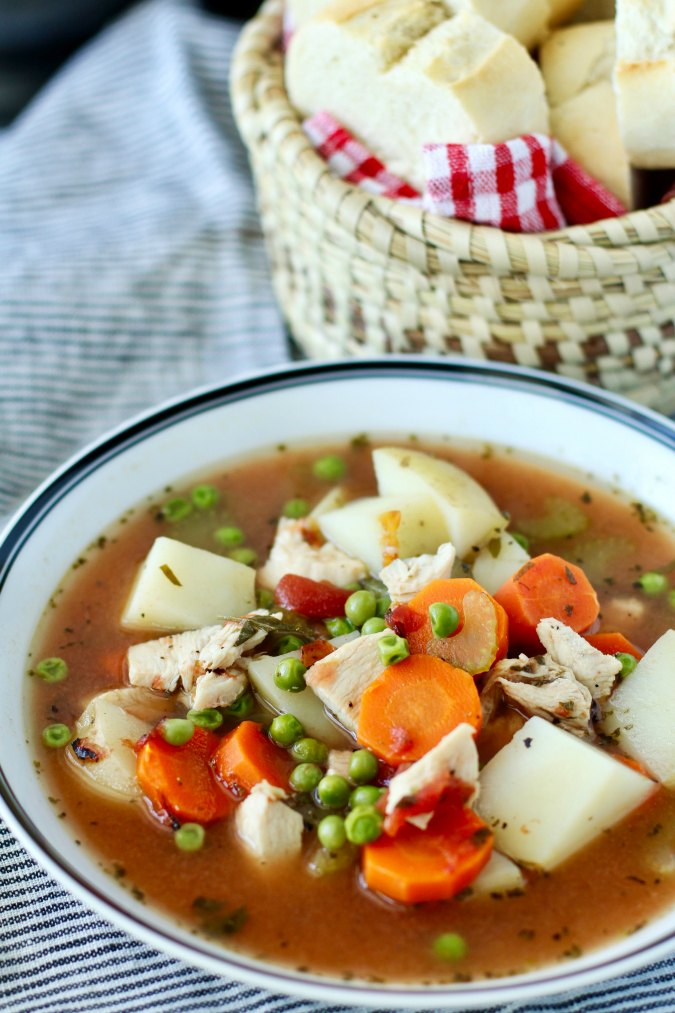 Homemade Turkey Soup with peas