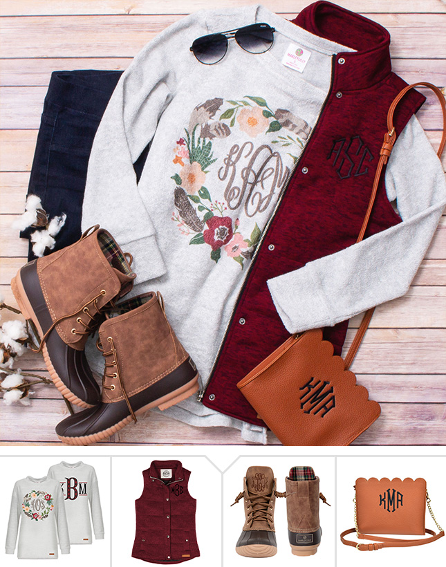 outfit with monograms for fall