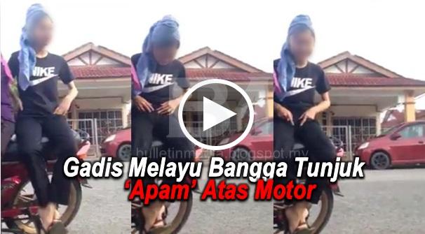 [VIDEO] Gadis Melayu Bangga Tunjuk 'Apam' Atas Motor