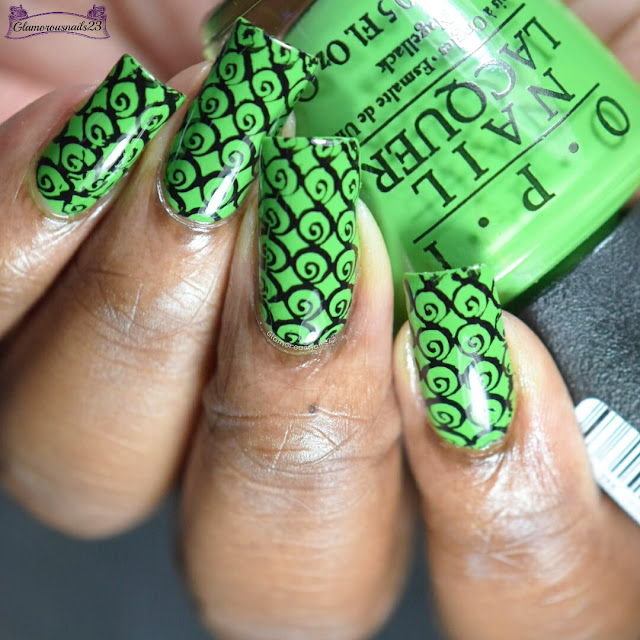 Green & Black Stamping Nail Art
