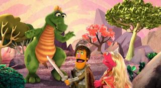 Princess Lucinda Lula encounters a dragon. Sesame Street Episode 4418 The Princess Story season 44