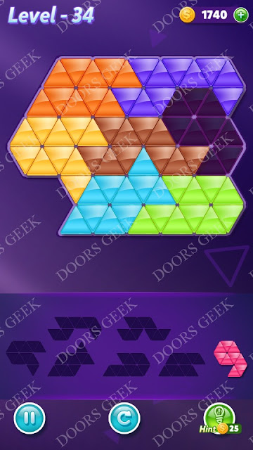Block! Triangle Puzzle Advanced Level 34 Solution, Cheats, Walkthrough for Android, iPhone, iPad and iPod