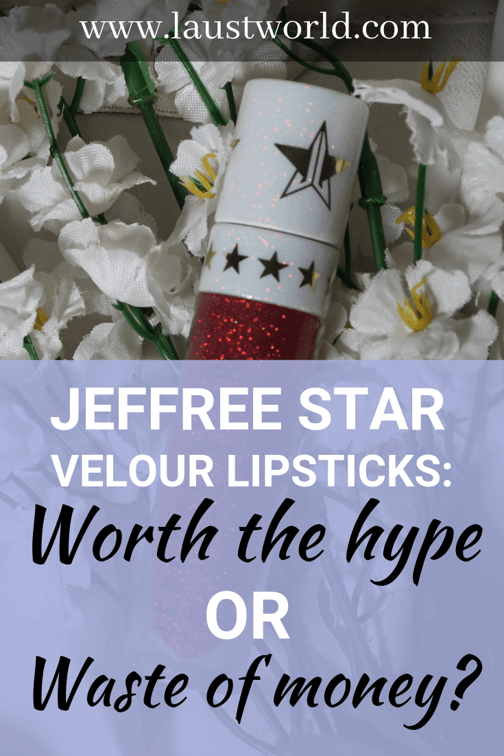 Pinterest image that says jeffree star liquid lipstick review
