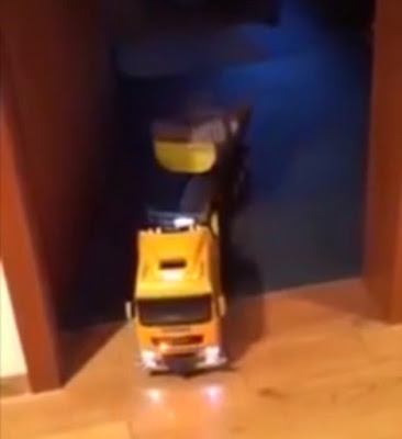 Clever father used a toy truck to help him make his baby fall asleep