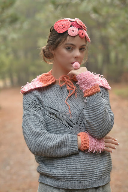 Loopy Crochet Capelet and Warmers