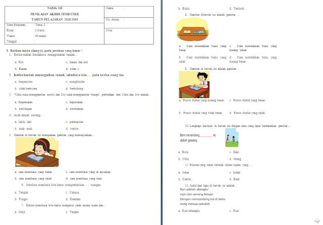 Soal Penilaian Akhir Semester (PAS) Kelas 1 SD/MI: Tema 2