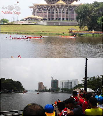 Sarawak Regatta at Kuching Waterfront with the DUN (Sarawak State Legislative Assembly Building) in the background