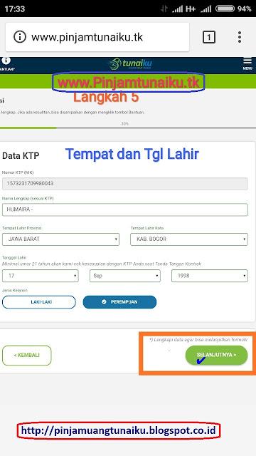 E.Gambar langkah 5 pengajuan pinjaman uang tanpa jaminan via link web promo tunaiku www.Pinjamtunaiku.tk
