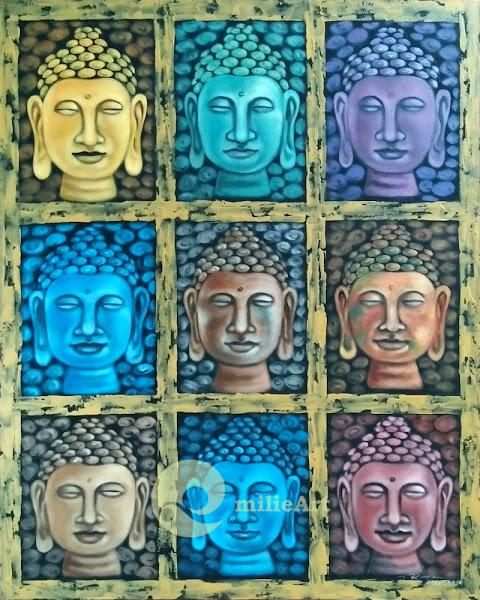 lukisan dekoratif kepala buddha